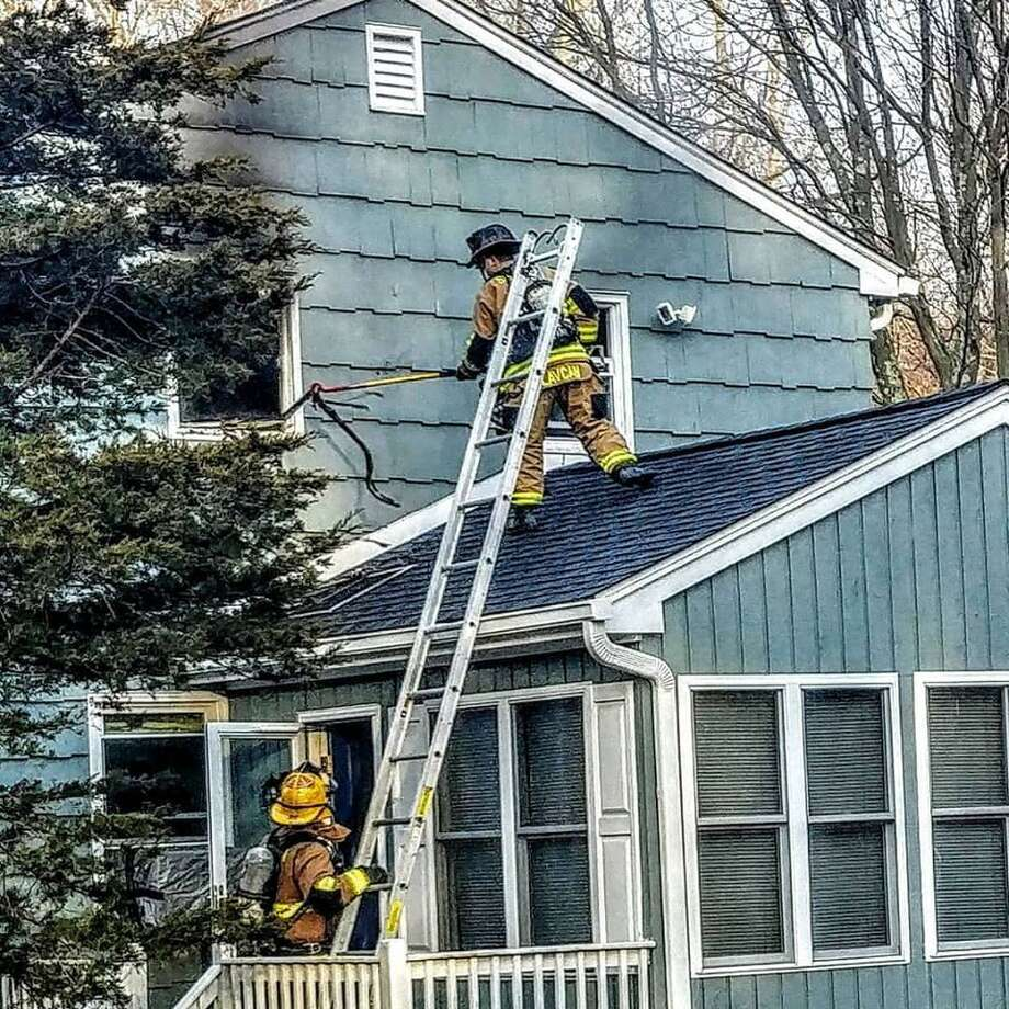Shelton firefighters battled a blaze at a Gray Street home Feb. 10, 2019, that involved several crews, but no one was injured and damage was kept mostly to one part of the house. Photo: Contributed / Echo Hose Hook And Ladder Co. 1
