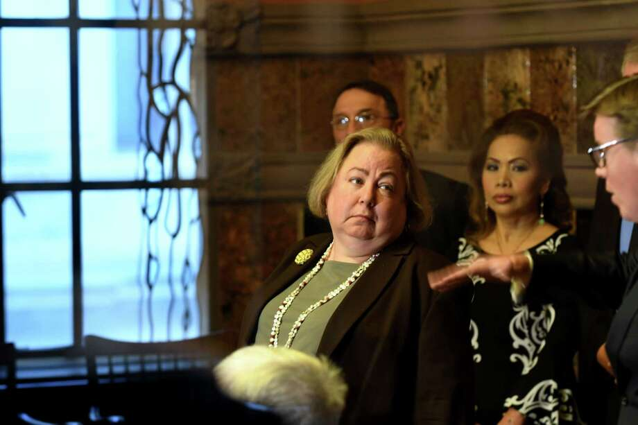 Sen. Liz Krueger, center, speaks during a press conference where civic groups and lawmakers pushed for ethics reform on Tuesday, Jan. 8, 2019, in Albany, N.Y. (Will Waldron/Times Union) Photo: Will Waldron