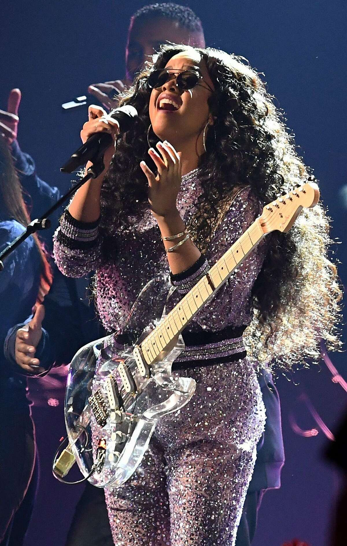 US singer Gabriella Wilson, aka H.E.R., during the 61st Annual Grammy Awards on February 10, 2019, in Los Angeles. (Photo by Robyn Beck / AFP)ROBYN BECK/AFP/Getty Images