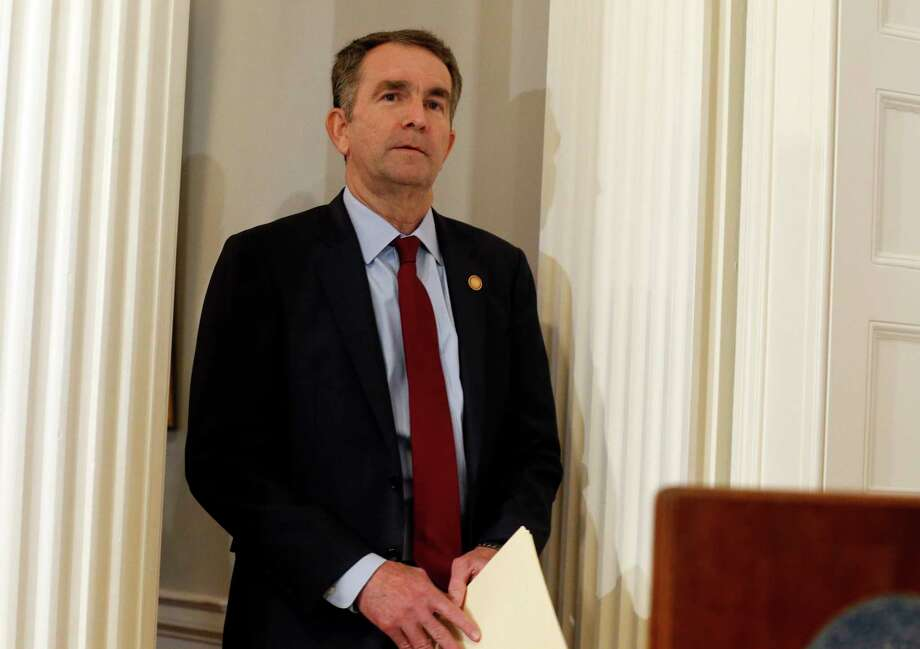 Virginia Gov. Ralph Northam arrives for a news conference in the Governor's Mansion in Richmond, Va., on Saturday, Feb. 2, 2019. Northam is under fire for a racial photo that appeared in his college yearbook. (AP Photo/Steve Helber) Photo: Steve Helber / Copyright 2019 The Associated Press. All rights reserved