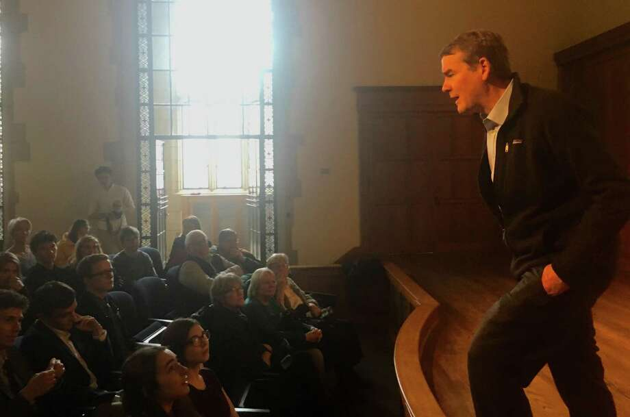 U.S. Sen. Michael Bennet, D-Colo., held a town meeting-style Q&A at Yale on Sunday as a guest of the local chapter of Every Vote Counts. Bennet, who graduated from Yale Law School in 1993, is considering running for president. Photo: Dan Haar /Hearst Connecticut Media /