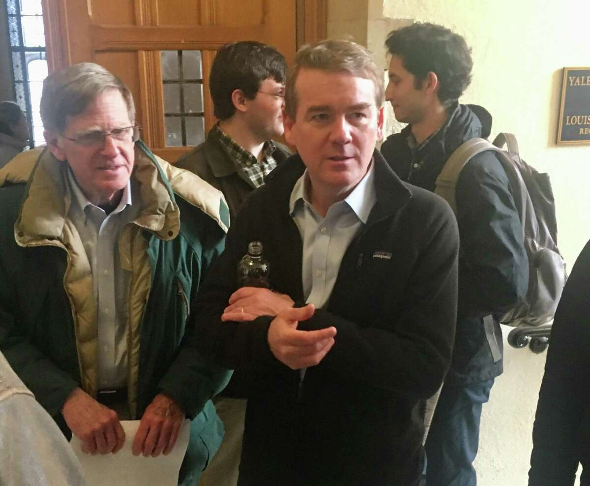 U.S. Sen. Michael Bennet, D-Colo., held a town meeting-style Q&A at Yale on Sunday, Feb. 10, 2019, as a guest of the local chapter of Every Vote Counts. Bennet, who graduated from Yale Law School in 1993, is considering running for president.