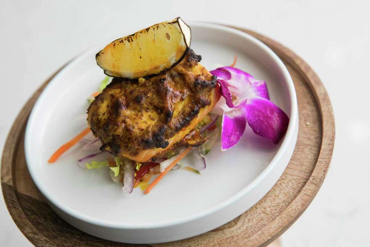 Mustard-flavored salmon at the new Verandah Progressive Indian Restaurant.