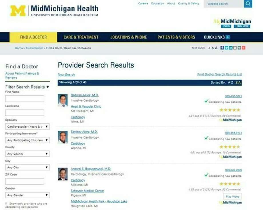 Visitors to www.midmichigan.org are seeing stars as patient ratings, and reviews are now a regular feature of the Find a Doctor pages on the website. The ratings and reviews are from verified patients who had an outpatient appointment with a provider employed by MidMichigan Health and then completed a follow-up survey. (Photo provided)