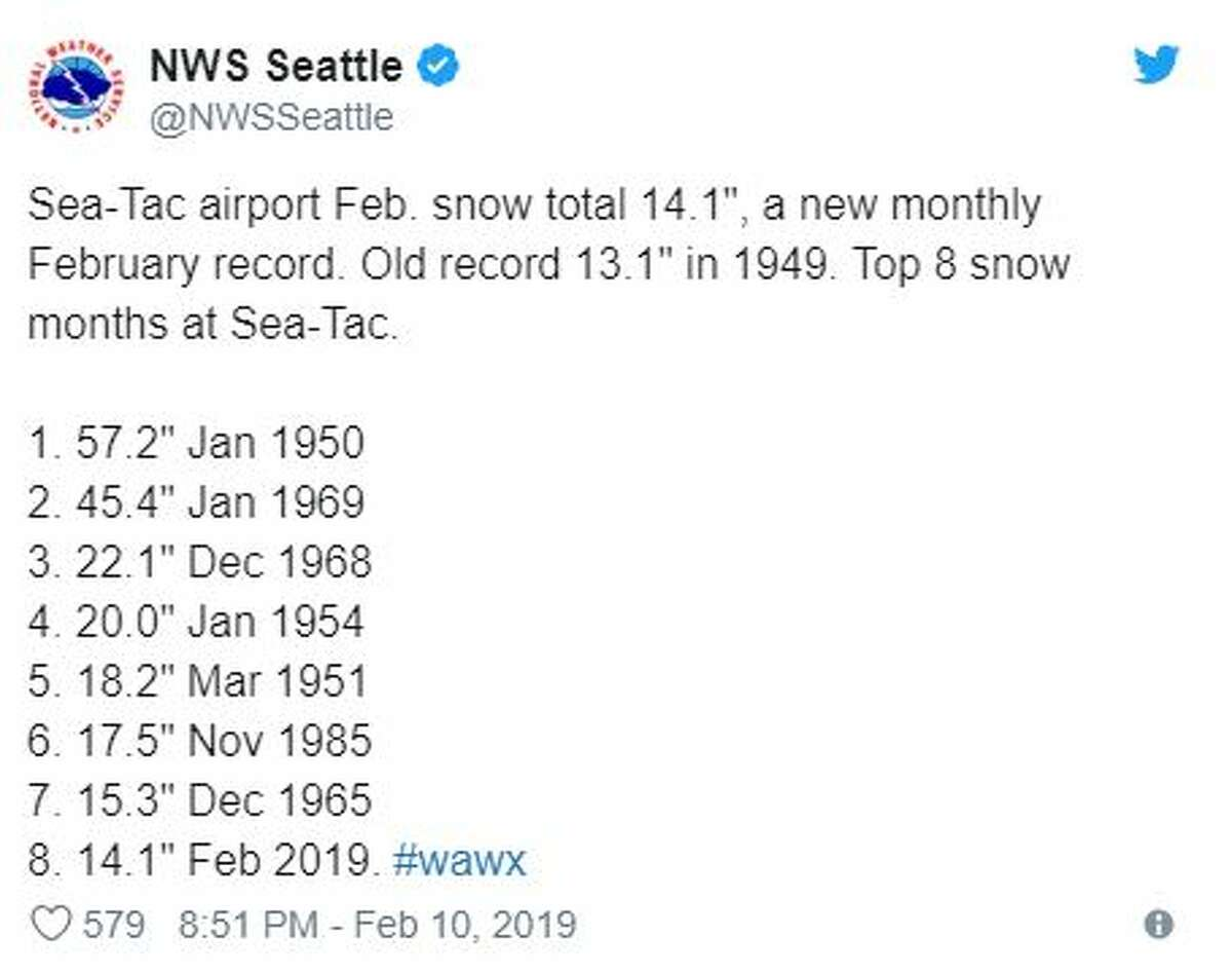 This month's snow storms have broken the record for most snow accumulated in any February at Sea-Tac International Airport, though our 14.1 inches does not come close to the record 57.2 inches recorded in January 1950.