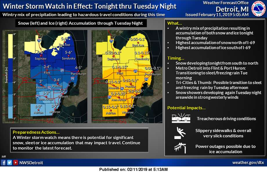 A winter storm watch is in effect for all of Southeast Michigan tonight through Tuesday night. This means the potential exists for significant amounts of snow or ice accumulation, which will impact travel. Snow will develop across all areas tonight, then transition to a mix of sleet and freezing rain from south to north Tuesday morning and afternoon. This timing will focus higher accumulations of snow north of I-69, while points to the south see higher ice accumulation. Please continue to monitor the latest forecast information on this winter storm. Photo: National Weather Service Detroit