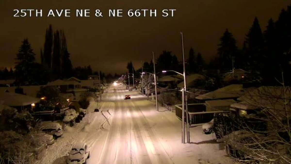 Snowy road conditions were seen Sunday night and Monday morning in some areas.
