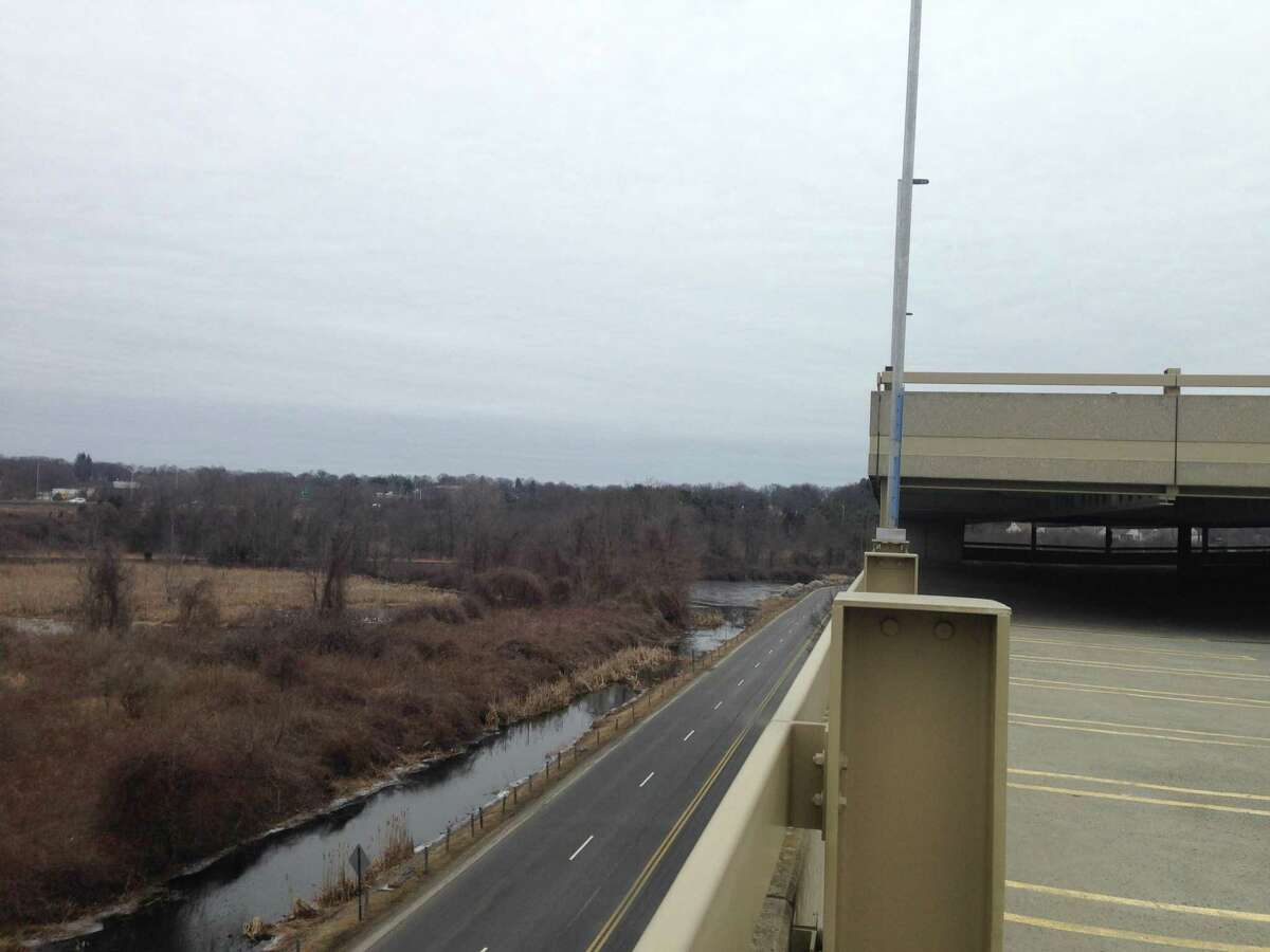The view from the fourth level of the parking garage at the Danbury Fair Mall. The entrance to the fifth level was blocked off with police tape and barricades.