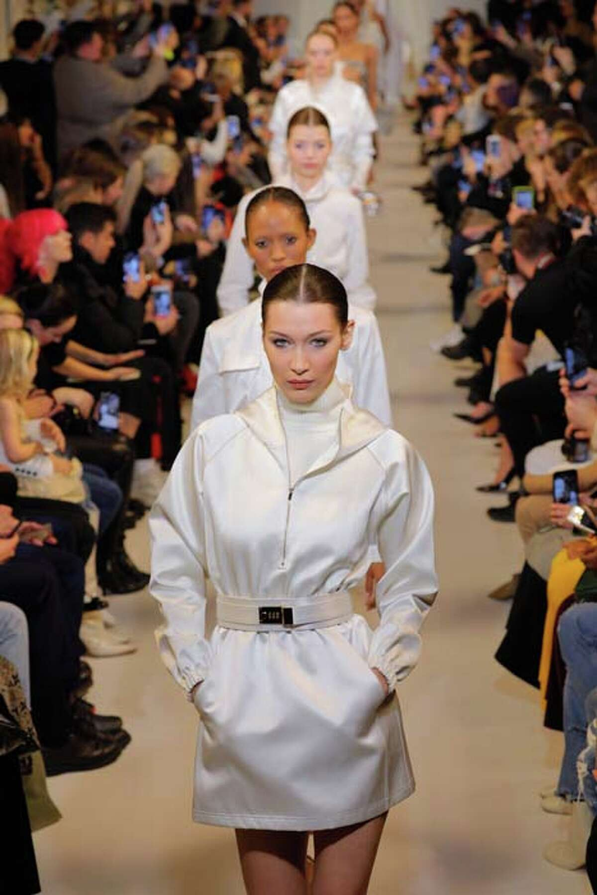 NEW YORK, NY - FEBRUARY 09: Bella Hadid walks the runway finale at the Brandon Maxwell Runway show; February 2019 during New York Fashion Week at Penn Plaza Pavilion on February 9, 2019 in New York City. (Photo by Randy Brooke/WireImage)