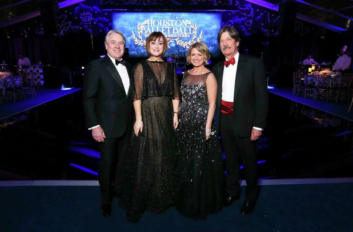 Ballet Ball co-chairs Leigh and Reggie Smith, left, and Kelley and Stephen Lubanko pose for a photograph at the Houston Ballet Center for Dance on Saturday, Feb. 9, 2019, in Houston.