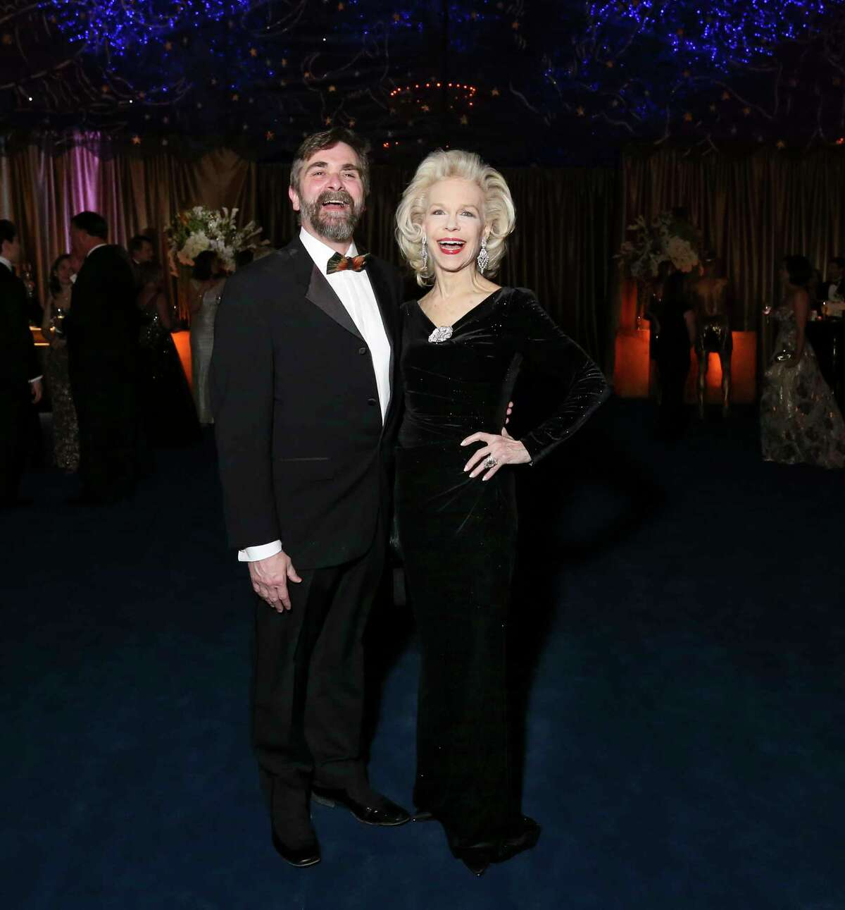 Houston Ballet Artistic Director Stanton Welch AM and Lynn Wyatt have a lighthearted moment at the 2019 Ballet Ball at the Houston Ballet Center for Dance on Saturday, Feb. 9, 2019, in Houston.