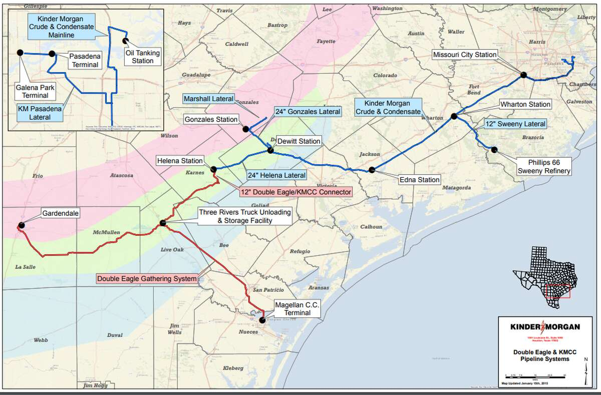 The Kinder Morgan Crude & Condensate Pipeline moves crude oil and condensate from Sweeny to multiple destinations along the Houston Ship Channel.