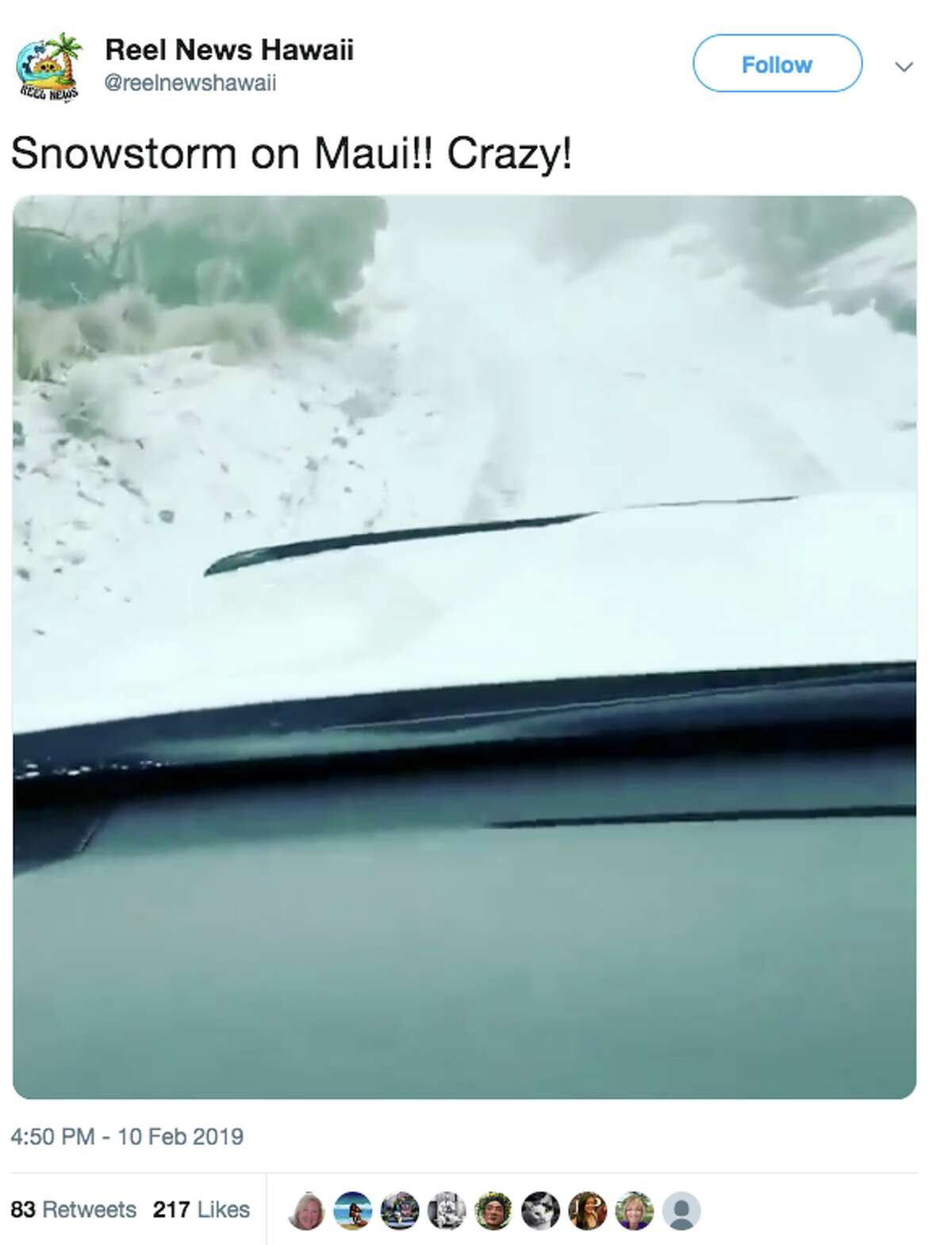 Reel News Hawaii posted a video of a motorist driving in snow on Haleakala at 10,000 feet on Maui.