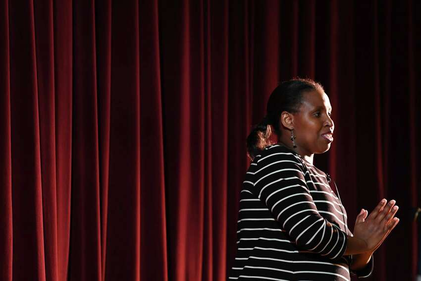 Rwandan genocide survivor, Eugenie Mukeshimana, speaks at Niskayuna High School to educate students about the dangers of hatred on Monday, Feb. 11, 2019, in Niskayuna, N.Y. (Will Waldron/Times Union)