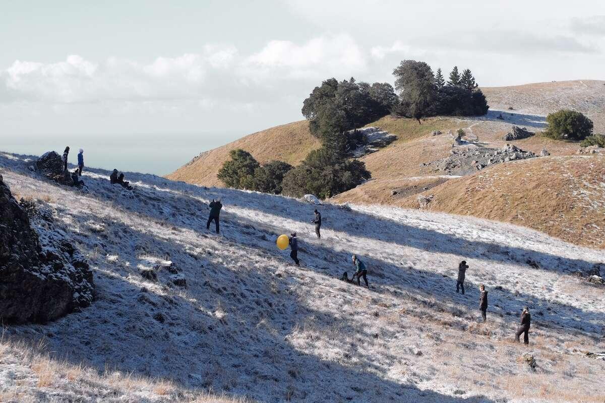 People enjoying the snow on Mount Tamalpais on Sunday, Feb. 10, 2019.