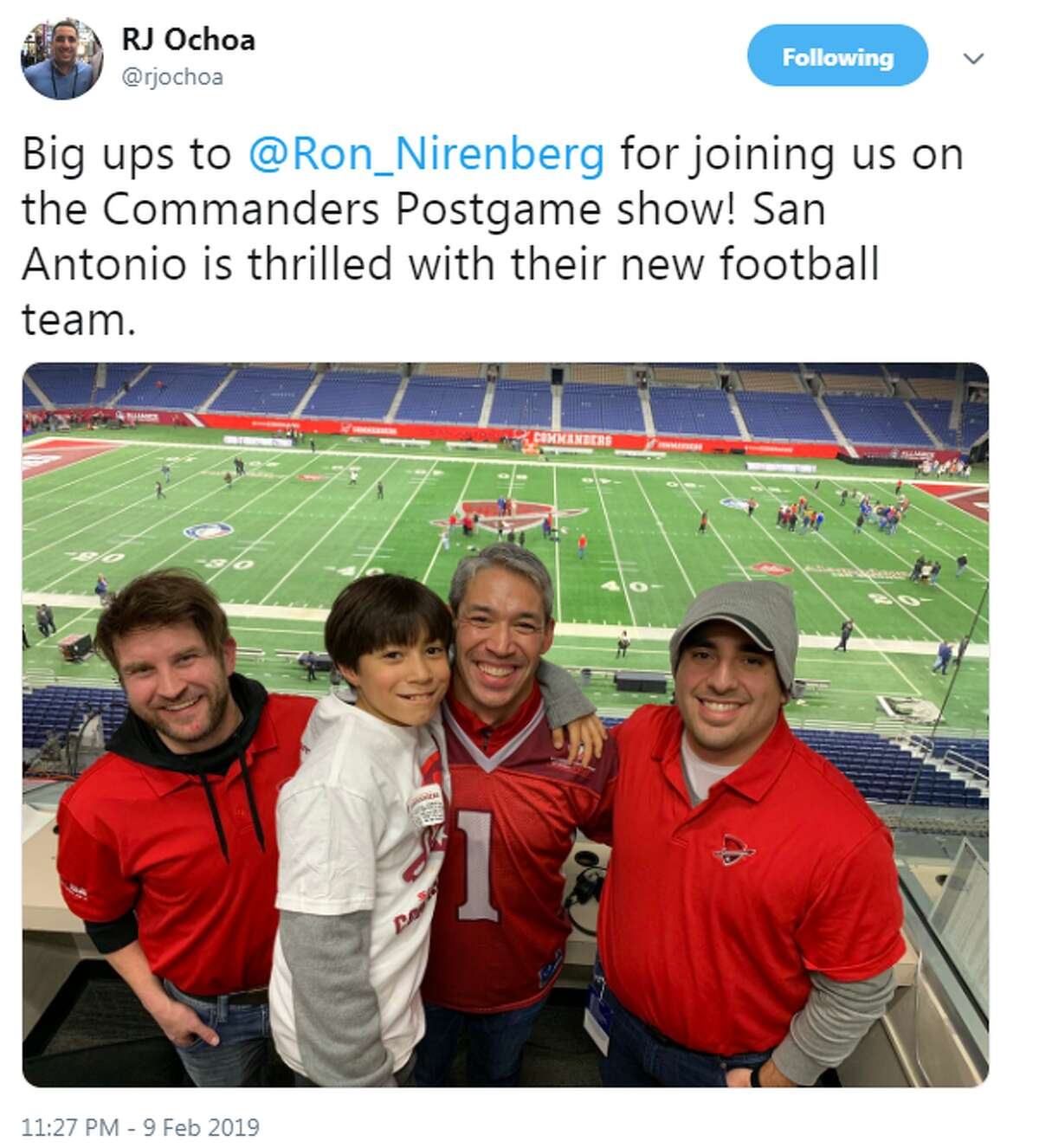 @rjochoa: Big ups to @Ron_Nirenberg for joining us on the Commanders Postgame show! San Antonio is thrilled with their new football team.