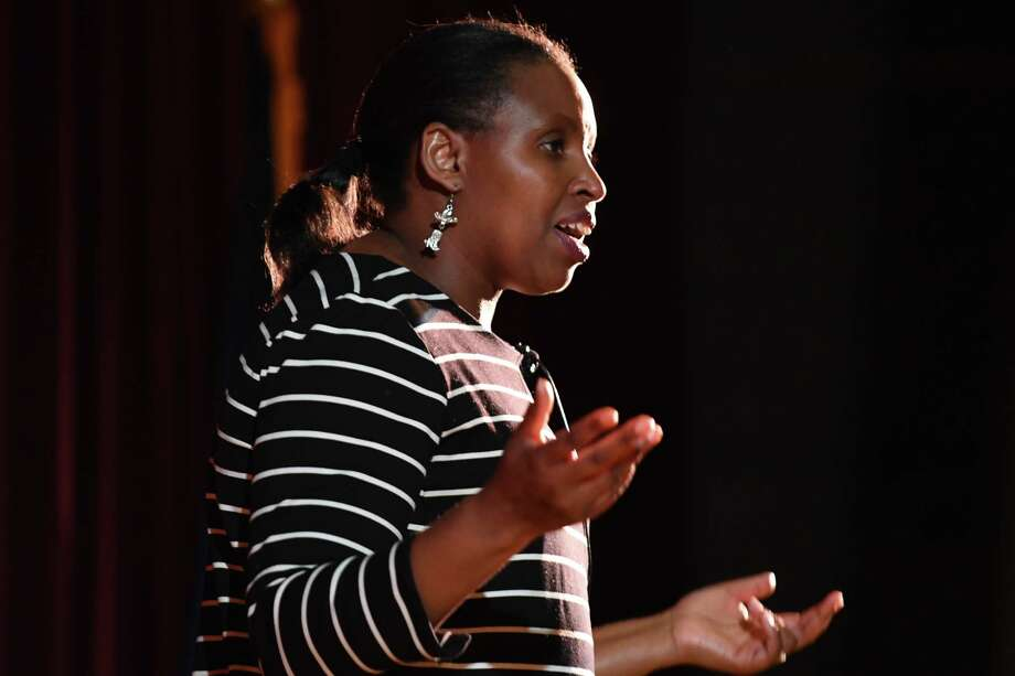 Rwandan genocide survivor, Eugenie Mukeshimana, speaks at Niskayuna High School to educate students about the dangers of hatred on Monday, Feb. 11, 2019, in Niskayuna, N.Y. (Will Waldron/Times Union) Photo: Will Waldron, Albany Times Union / 20046162A