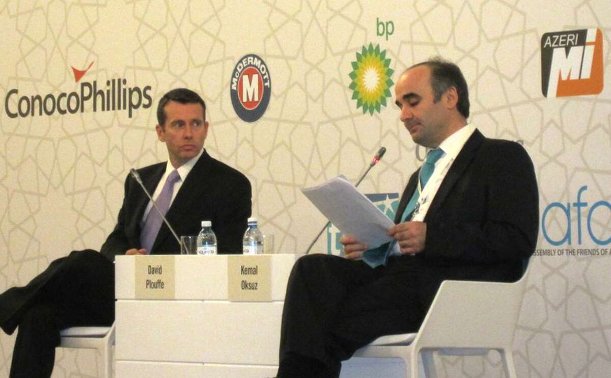 Azer-40: Houston businessman Kemal Oksuz, right, hosts a discussion with President Barack Obama's 2008 campaign manager, David Plouffe. Oksuz organized the convention in Baku through two Houston-based non-profits-the Turquoise Council of Americans and Eurasians and the Assembly of the Friends of Azerbaijan.