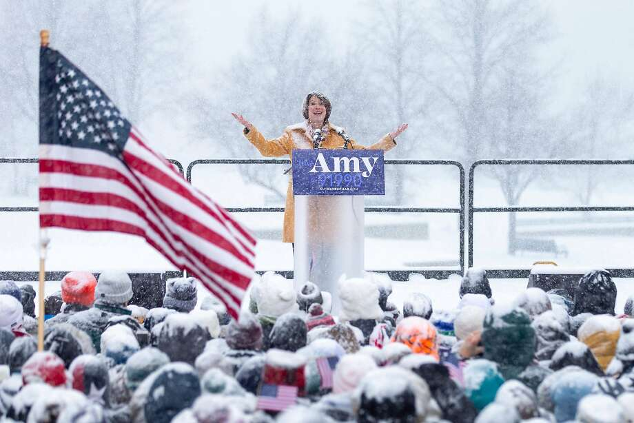 TOPSHOT - US Senator Amy Klobuchar (D-MN) announces her candidacy for president during a snow fall on February 10, 2019 in Minneapolis, Minnesota. - Klobuchar joined the ever-growing field of contenders hoping to unseat President Donald Trump in the 2020 White House race. (Photo by Kerem Yucel / AFP)KEREM YUCEL/AFP/Getty Images Photo: Kerem Yucel, AFP/Getty Images