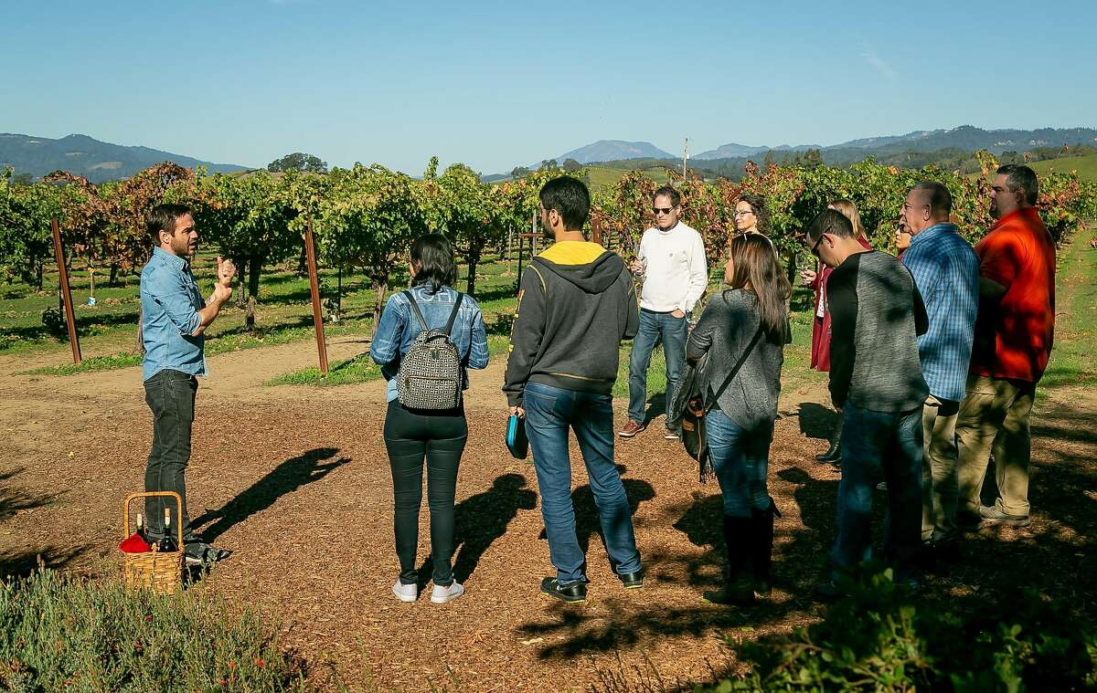 """People take a tour at Frog's Leap winery in St Helena, Calif. on October 24th, 2018. Story about """"Ghost Wineries""""."""