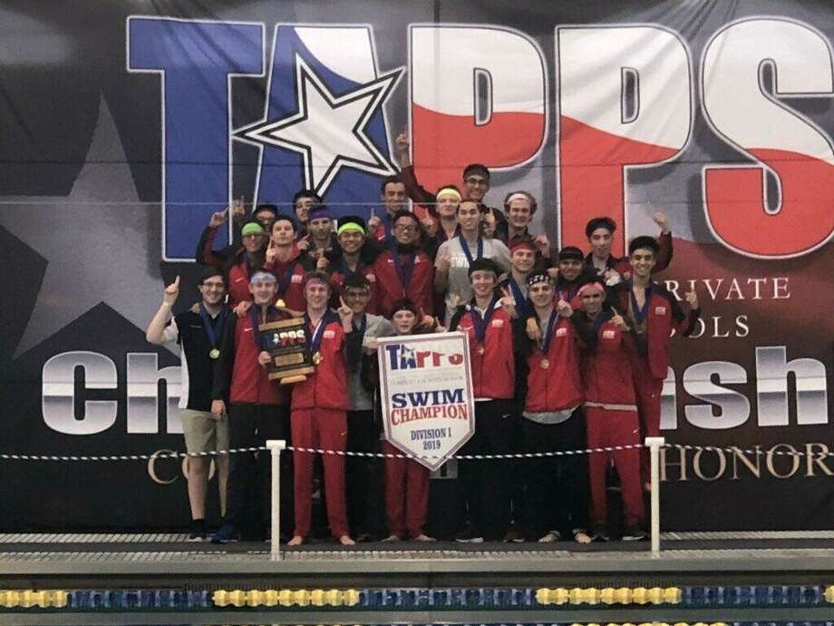 The St. Thomas swimming and diving team captured its first TAPPS Division I state championship Feb. 8 in Mansfield. The Eagles won two relays and scored 291 points to hold off El Paso Cathedral by eight. Photo: St. Thomas High School / St. Thomas High School