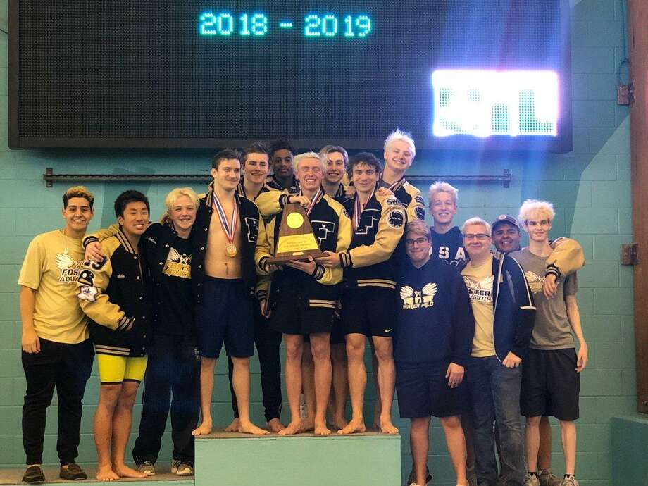 The Foster boys swimming and diving team won the Region IV-5A championship Feb. 2 at Don Cook Natatorium in Sugar Land. The Falcons broke the regional record in the 200- and 400-yard freestyle relays. Photo: Foster High School / Foster High School