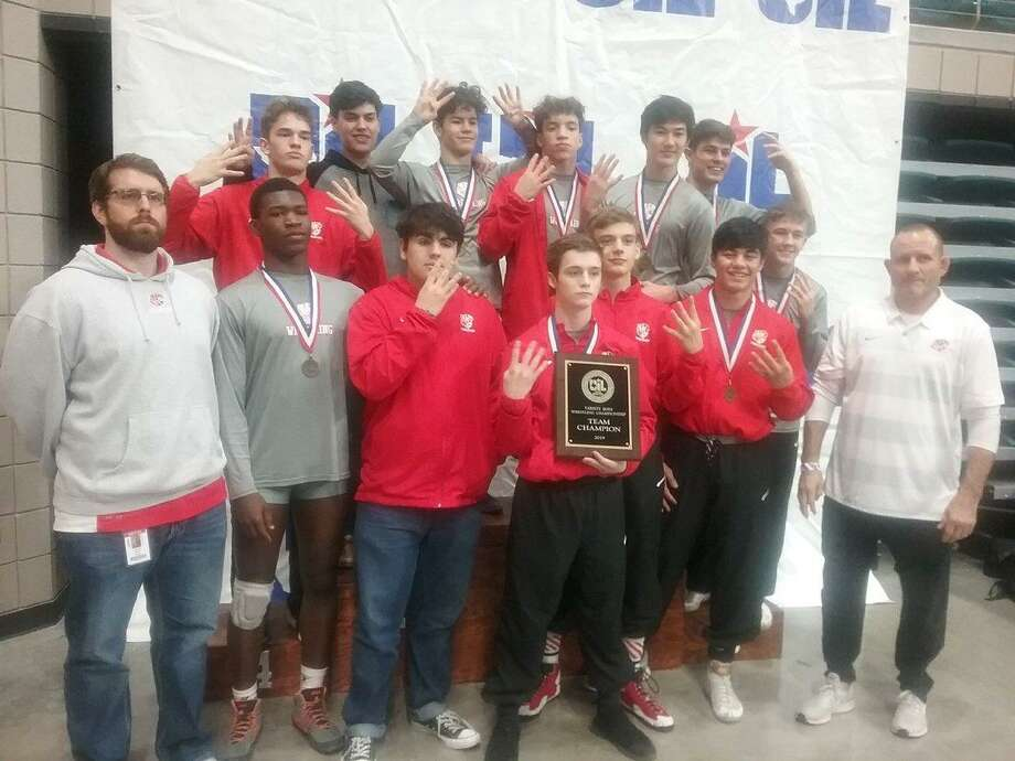 Katy won the boys District 9-6A wrestling team championship with 228.5 points, with Seven Lakes (182) and Tompkins (164) leading a close pack for runner-up contention. The Tigers won their fourth consecutive district title as Jackson Crandall (113), Tyler Silman (120), Brandon Diaz (126), Luke Holland (132), Truman Thomas (145), Jacob Kelske (152), Daniel Manibog (160) and Kishawn Higgins (170) won individual gold medals. Photo: Katy ISD Athletics / Katy ISD Athletics
