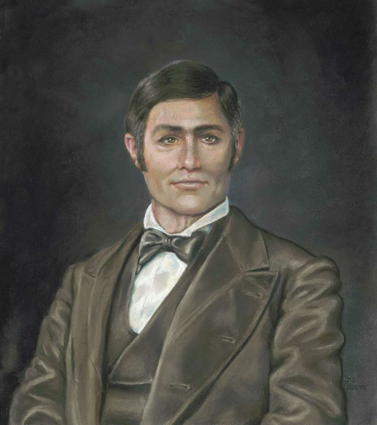 This portrait of José Miguel de Arciniega, a respected military explorer and statesman in the 1800s, was created by Houston forensic artist Lois Gibson. She did the pastel portrait with colored chalks on acid-free paper. There are no existing photographs or artwork of Arciniega; this is one of two images involved in a family lawsuit over which is the more historically accurate.