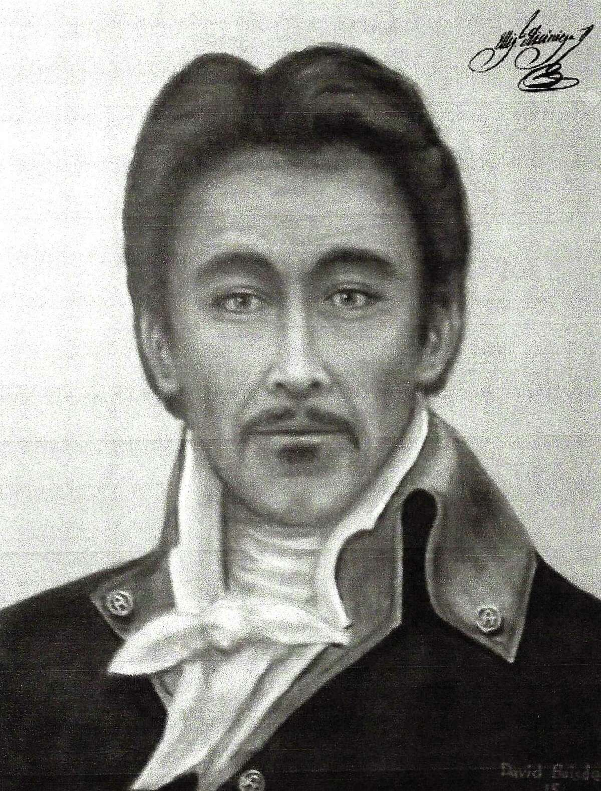 This portrait of Tejano patriot José Miguel de Arciniega was created by Houston artist David Baisden, who began with a digital composite based on existing images of the Tejano patriot's three sons, then produced airbrushed images and oil paintings. This is the image hanging at the state Capitol, in the Legislative Reference Library.