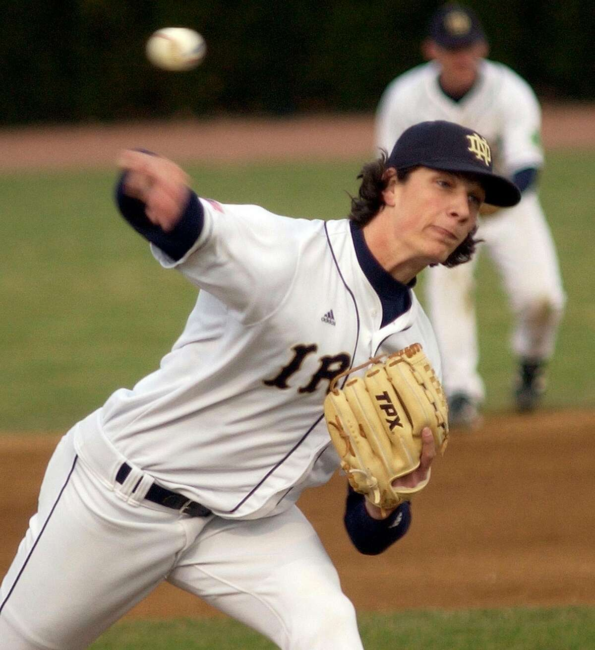 ** FILE ** Notre Dame pitcher Jeff Samardzija throws a pitch during action in this March 31, 2006 file photo in South Bend, Ind. Samardzija decided to give up football and stay with baseball. The former Notre Dame receiver, projected as a first-round pick in the upcoming NFL draft, agreed Friday to a $10 million, five-year contract to pitch for the Chicago Cubs. (AP Photo/Joe Raymond)