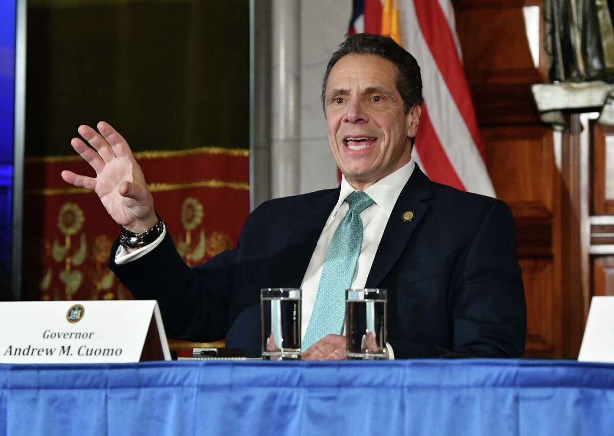 Governor Andrew Cuomo announces he will be meeting with President Donald Trump about the federal administration?•s state and local tax (SALT) policy during a press conference at the New York State Capitol on Monday Feb. 11, 2019 in Albany, N.Y. (Lori Van Buren/Times Union)