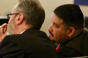 Gabriel Martinez, right, talks with his lawyer John Wintor during his murder trial in the 379th state District Court, Judge Ron Rangel presiding in the Cadena-Reeves Justice Center on Monday, Feb. 11, 2019.