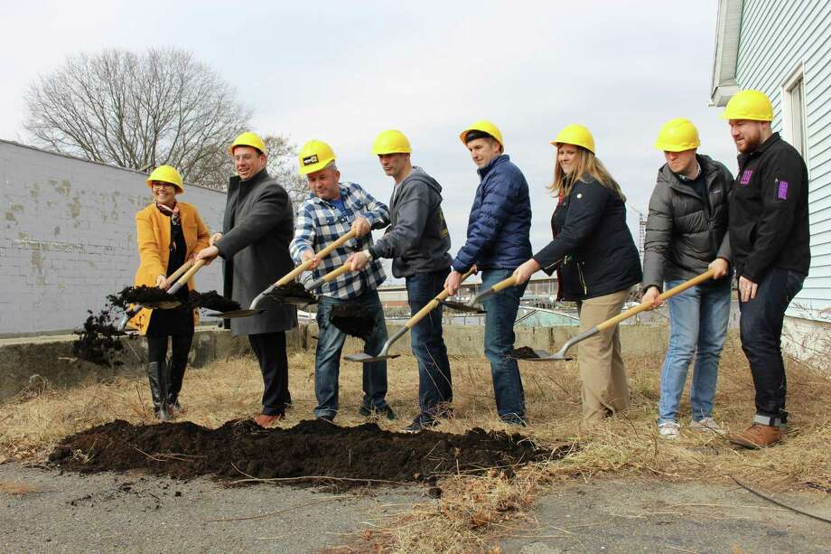 After a year of waiting, owners of Dockside Brewery have broken ground. Photo: Jordan Grice / Hearst Connecticut Media / Connecticut Post