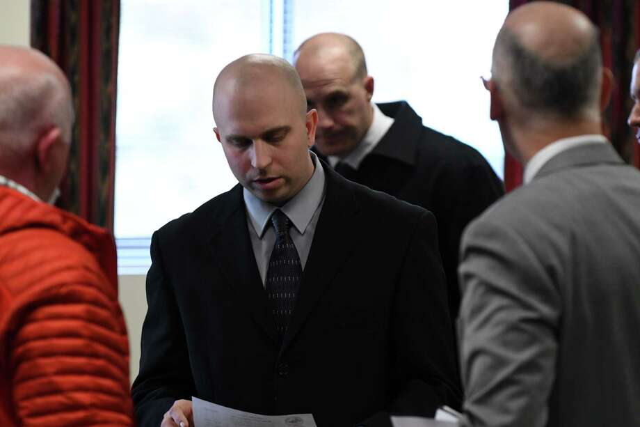 Eric Rosenbrock leaves Wilton Town Court where he was charged with manslaughter in death of his wife on Monday, Feb. 11, 2019, in Wilton, N.Y. The Lake George science teacher, who allegedly shot and killed his wife in their Corinth home, went to the local State Police barracks on Monday. (Will Waldron/Times Union) Photo: Will Waldron, Albany Times Union / 20046170A
