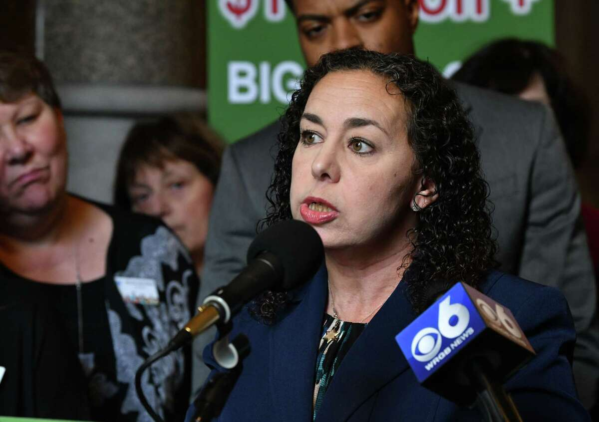 Stephanie Marquesano, whose 19-yr-old son Harris died from an accidental overdose in 2013, speaks during a press conference at the New York State Capitol on Monday Feb. 11, 2019 in Albany, N.Y. She was joined by Smart Approaches to Marijuana New York (SAM NY) President Dr. Kevin Sabet, victims of drug abuse, education advocates, law enforcement and healthcare experts to urge lawmakers to reject rushing to commercialize marijuana in New York State. (Lori Van Buren/Times Union)