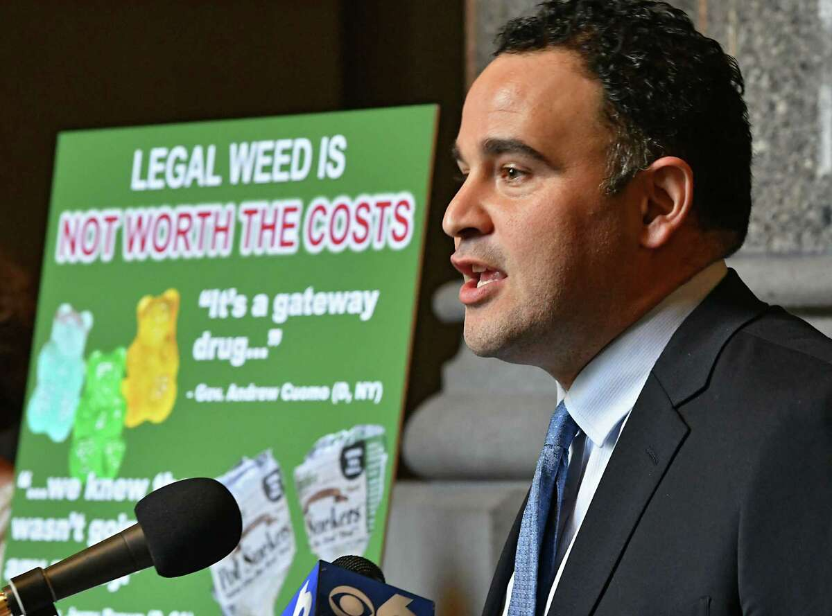 Smart Approaches to Marijuana New York (SAM NY) President Dr. Kevin Sabet, a former drug policy advisor to President Obama, speaks during a press conference at the New York State Capitol on Monday Feb. 11, 2019 in Albany, N.Y. He was joined by victims of drug abuse, education advocates, law enforcement and healthcare experts to urge lawmakers to reject rushing to commercialize marijuana in New York State. (Lori Van Buren/Times Union)