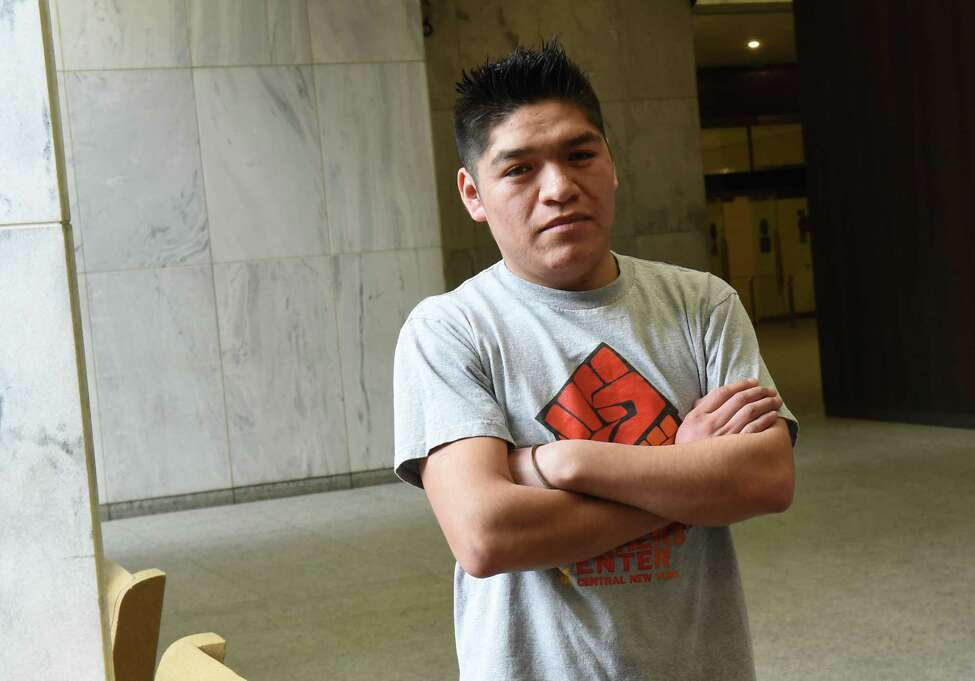 Farmworker Crispin Hernandez stands in the lobby of the Robert Abrams Building after the Albany Supreme Court heard his oral arguments in a case against the state and the Farm Bureau on Monday Feb. 11, 2019 in Albany, N.Y. Hernandez is suing the state and the Farm Bureau for the exclusion of farmworkers from the right to organize and collectively bargain without fear of retaliation like other workers. (Lori Van Buren/Times Union)
