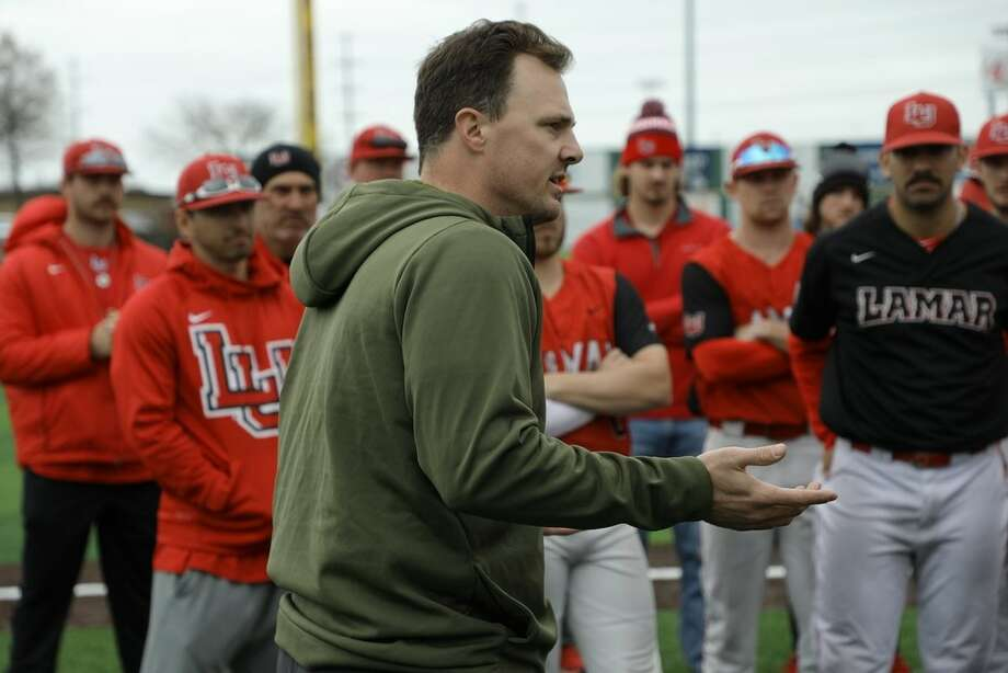 Beaumont native and Major League Baseball veteran Jay Bruce speaks to Lamar baseball players during a practice at Vincent Beck Stadium. Photo by Lucas Milano, Assistant Athletic Director of Video and Creative Services for Lamar Athletics. Photo: Lamar Athletics