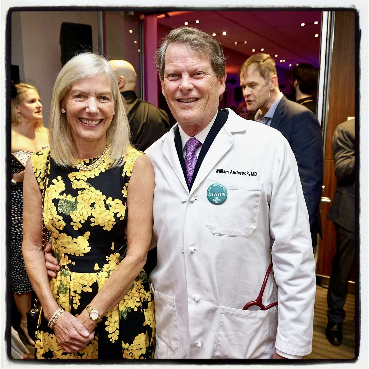 Helga Andereck and her husband, Dr. William Andereck, at the CPMC gala opening. Feb. 7, 2019.