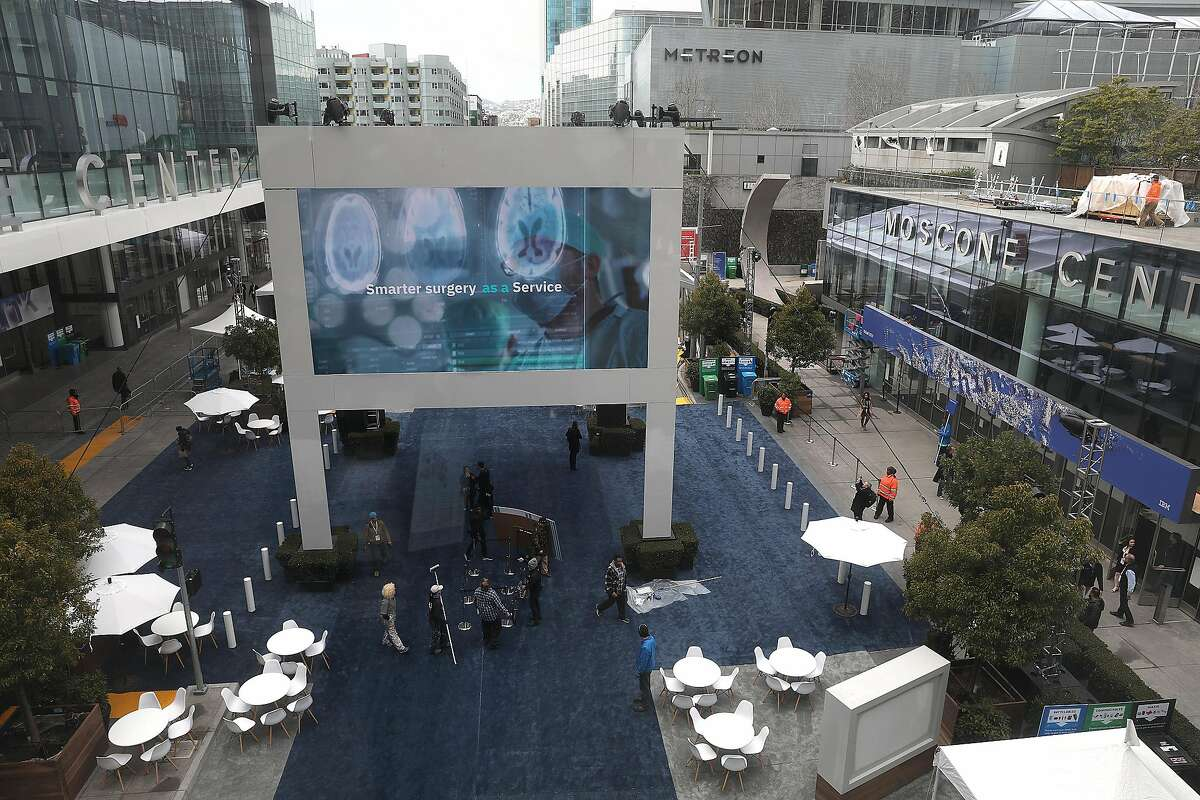 View of Harrison Street as Moscone center gets ready for IBM's Think 2019 where 30,000 attendees are coming to the newly renovated Moscone Center on Monday, Feb. 11, 2019 in San Francisco, Calif.