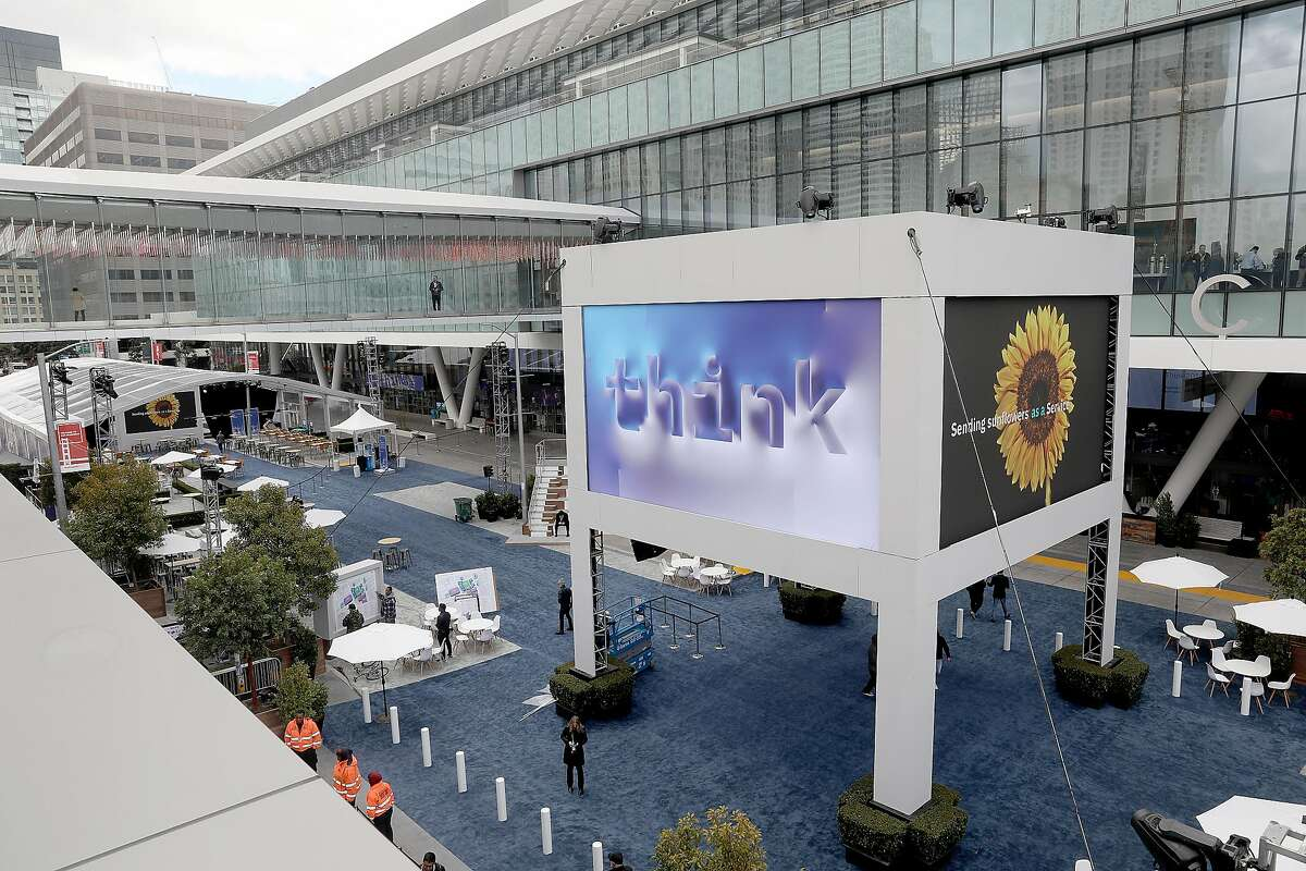 Moscone center gets ready for IBM's Think 2019 where 30,000 attendees are coming to the newly renovated convention center on Monday, Feb. 11, 2019, in San Francisco, Calif.