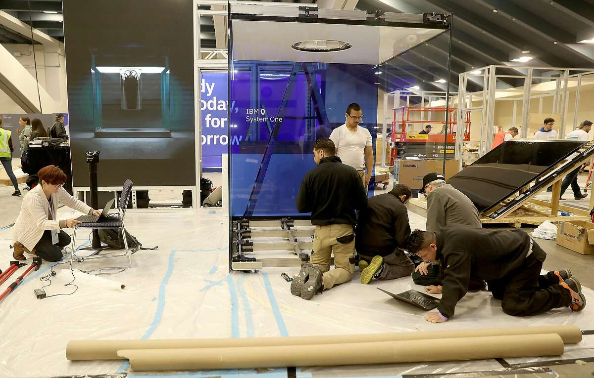 Moscone center south gets ready for IBM's Think 2019 where 30,000 attendees are coming to the newly renovated Moscone Center on Monday, Feb. 11, 2019 in San Francisco, Calif.