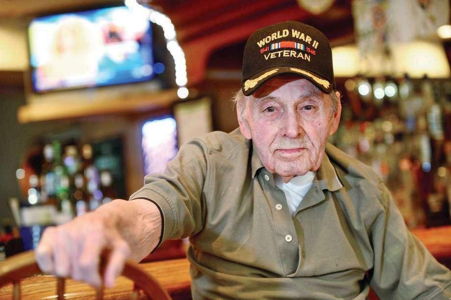 World War II veteran Dave Evans at the American Legion in Norwalk in May 2016. Photo: Erik Trautmann / Hearst Connecticut Media / Norwalk Hour