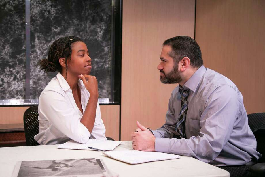"Danique Ashley (Susan) and Aaron Kaplan (Jack Lawson) rehearse a scene for ""Race,"" onstage at TheatreWorks New Milford, Feb. 22 through March 10. Photo: Richard Pettibone / Contributed Photo"