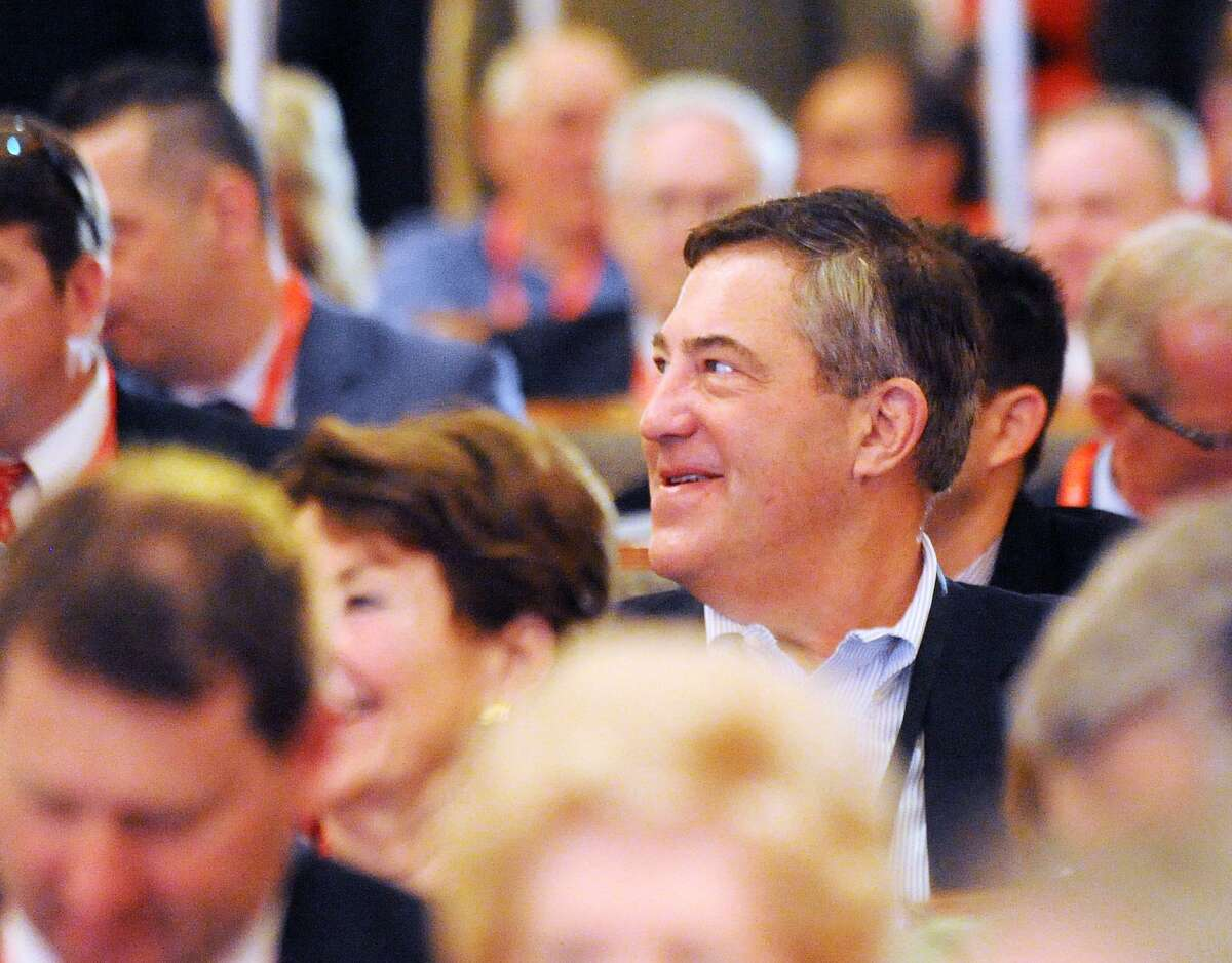 Greenwich delegate Edward Dadakis smiles during the Republican State Convention at Foxwoods Casino, Mashantucket, Conn., Friday, May 11, 2018.