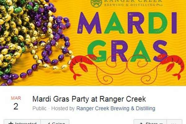 Mardi Gras Party at Ranger Creek Ranger Creek Brewing & Distilling is celebrating the holiday with New Orleans-style jazz music, Louisiana-style crawfish and drink specials March 2 from 5-10 p.m.