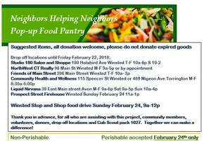 Donations are wanted for a pop-up food pantry  Feb. 24 in Winsted.