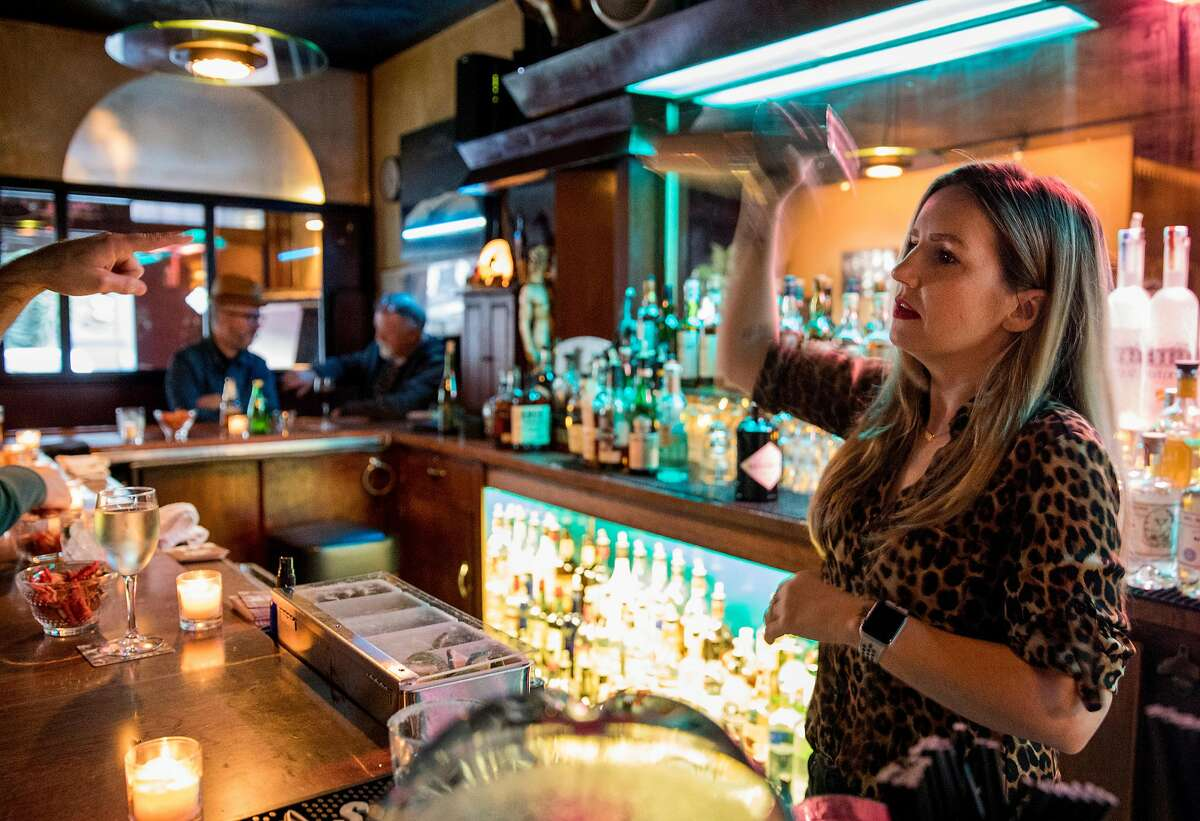 Manager Nova Pierce makes a cocktail for a patron at Lone Palm in San Francisco, Calif. Saturday, Jan. 12, 2019.