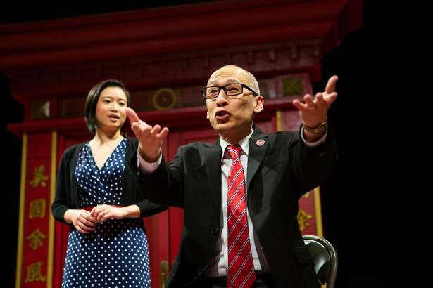 """Lauren (Krystle Piamonte, left) listens to her father Larry (Francis Jue*) explain the importance of family in """"King of the Yees"""" at San Francisco Playhouse."""