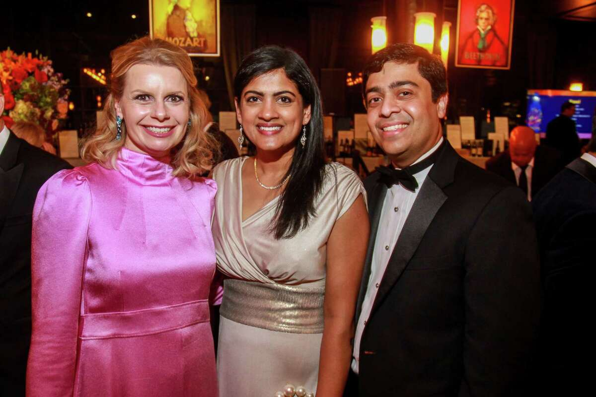 Valerie Dieterich, left, with Ishwaria and Vivek Subbiah at the Houston Symphony's annual Wine Dinner and Collector's Auction at the Astorian.